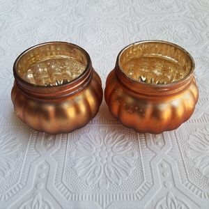New! Fall Harvest Pumpkin Candle Holders (2 pc)